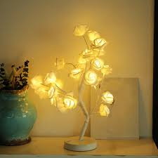 rose potted lamp desk top bonsai tree light with 24 led beads ne709 party diy decorations