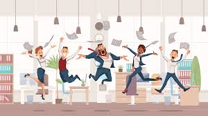 Happy Office Workers Jumping Up Office Fun People Work In