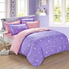 lavender and pink moon star full queen size duvet cover bedding