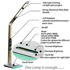 Normande Lighting Gp5 3268 Manual Foreking Color Temperature Adjustable Led Desk Lamp 12w Table Light Reading Lamp Office Lamp 5 Stages Touch Dimmable Lcd Calendar Alarm Clock Color