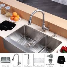 kraus 33 inch farmhouse double bowl stainless steel kitchen sink with kitchen faucet soap dispenser