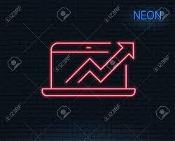 Neon Light Data Analysis And Statistics Line Icon Report Graph