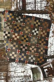 3031 best Quilts images on Pinterest | Primitive quilts, Quilting ... & Nine-patch in blacks, tans, reds, measures 39 x 47 Primitive Folk Art Quilt  Pattern: BLUE AND GRAY -- Wall Hanging Adamdwight.com