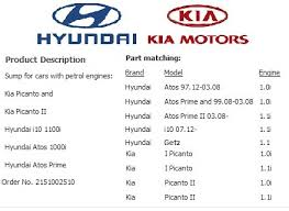 hyundai getz i atos kia picanto engine sump pan sump oil bowl diagram for your information