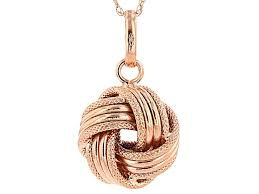14k rose gold over 14k yellow gold hollow love knot pendant with chain bgw764 jtv com