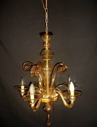 art nouveau style 5 light chandelier in murano blown glass italy 1930s