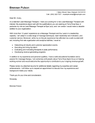 Leading Professional Lead Massage Therapist Cover Letter Examples