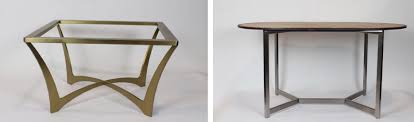 above left this stainless steel coffee table base will support an eight inch round or 36 inch square stone table top