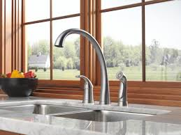 Delta Pilar Kitchen Faucet Faucetcom 4380 Ar Dst In Arctic Stainless By Delta