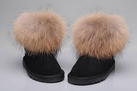 ... UGG Fox Fur Mini Boots 5854 Black ...