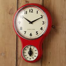 ... Inspiring Kitchen Clocks Amazon Oversized Wall Clock Red Clock With  Timer Retro Clock Wooden ...