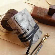 small leather journal with vintage style paper gray leather journal the brightest day