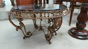 wrought iron side table. Moonee Ponds Antiques- French Art Deco Portoro Marble Top Wrought Iron Coffee Table Side