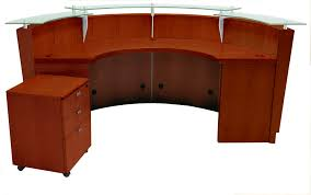 cherry office furniture. Curved Cherry Glass Top Reception Desk WMobile File Throughout Office Furniture