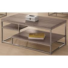 image of gray wood and chrome coffee tables