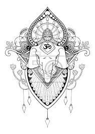 Fototapeta Silueta Ganesha Mandala Orientální Kresba Tetování Ilustrační