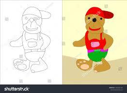 Children Education Cartoons Childrens Cartoons Bears Coloring Childrens Education Stock Vector