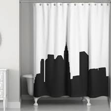 Black And White Curtains City Skyline Shower Curtain In Inspiration Decorating