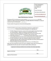 Sample Of Commercial Lawn Care Contract Template 1701