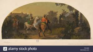 mural design picturing riders in a landscape for a lunette in the library of the cau de lude sarthe artist jules edmond charles lachaise french