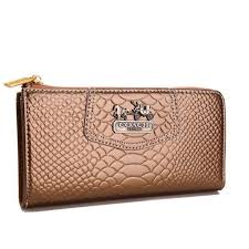 Coach Madison Continental Zip In Croc Embossed Large Bronze Wallets AGH