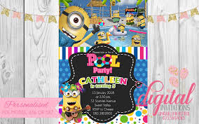Pink Girl Minion Pool Party Invitation