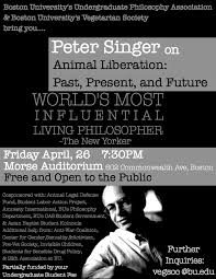 upcoming event peter singer on animal liberation boston  upcoming event peter singer on animal liberation boston university vegetarian society