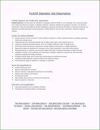 Forklift Operator Job Description For Resume Elegant Luxury