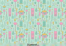 Retro Kitchen Utensils Background Vector Pattern Design by