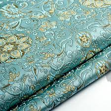 Floral Brocade Us 4 39 6 Off Pretty Blue Blooming Flower Floral Brocade Fabric Jacquard Apparel Costume Patchwork Fabric Curtain Upholstery Furnishing Materi In