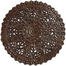 the medallion wood carved wall large round wood carving sacredfig leaf wall decor wood carved wall