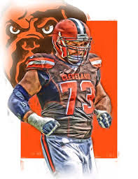 joe thomas mixed media joe thomas cleveland browns oil art by joe hamilton on cleveland browns canvas wall art with joe thomas cleveland browns oil art mixed media by joe hamilton