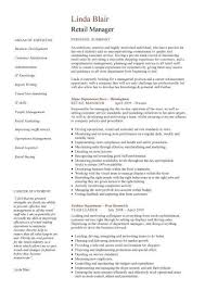 Retail Manager Cv Template Resume Examples Job Description For