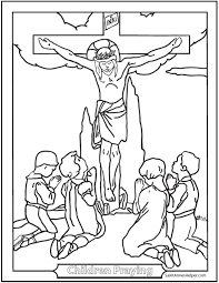 children praying coloring page to print