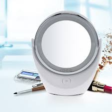 Round Makeup Light Portable Led Makeup Mirror With Light Double Sided Pocket