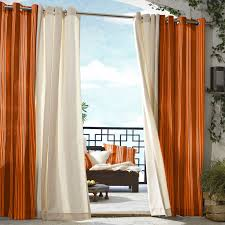 Ritzy Double Slice White And Orange Curtains Sheer Drapes Hang On Chrome  Curtain Bar As Divider Curtain For Separate Balcony And Indoor Decors Ideas