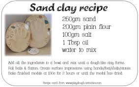 Sand Clay Recipe Card