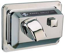 cast cover series push button activated hand and hair dryers r76 c recessed mounted chrome plated cover