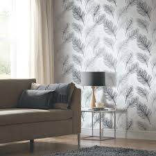 arthouse whisper feather wallpaper black and white http