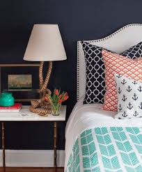 nautical bedroom decor. navy blue nautical themed boys bedroom ideas with anchor pattern on pillows and ropes cool table lamp white master bed in wall decor a