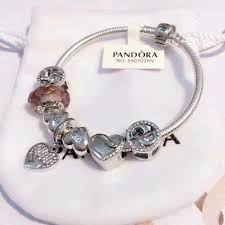 pandora bracelet antique silver original women glass charm bangle heart fit charm beads jewelry party