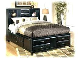 Queen Size Bed With Storage Underneath White Bookcase Headboard ...
