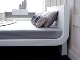 roma white modern bed platform bed contemporary bed  living it up