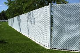 chain link fence. Colored-white-chain-link-with-slats Chain Link Fence