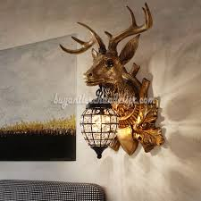 deer head antler wall lamps crystal hanging lights faux stag taxidermy mount decor 18 bronze