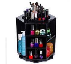 360 degree rotating jewelry cosmetic makeup organizer shelf black