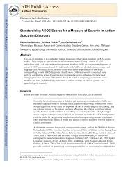 Pdf Standardizing Ados Scores For A Measure Of Severity In