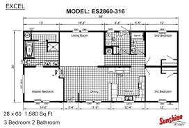 Single Wide Mobile Home Floor Plans 2 Bedroom Sunshine Homes