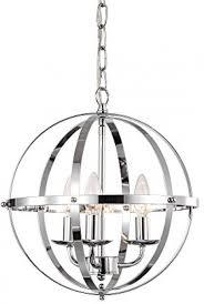 description evoking industrial vintage styling three light chandelier