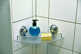 Suction Cup Bathroom Accessories Bath Shower Caddy Frosted Corner Shelf With 2 Screw Top Suction
